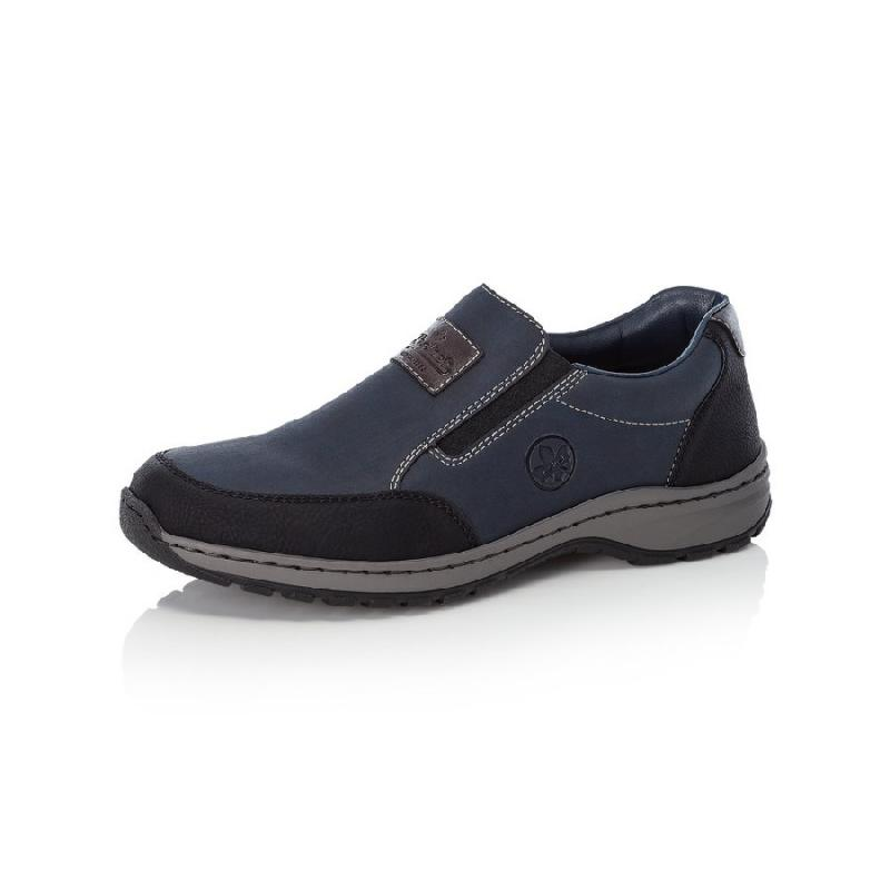 Black-Multia herrloafer/slip on i syntet från Rieker