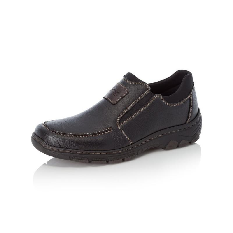 Svarta herrloafer/slip on i syntet från Rieker