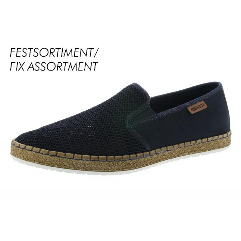 Marinblåa herrloafer/slip on i syntet från Rieker